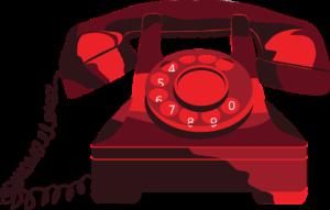 röd gammaldags telefon med lur och nummerskiva