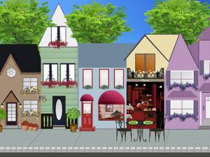 tecknad småstadsgata