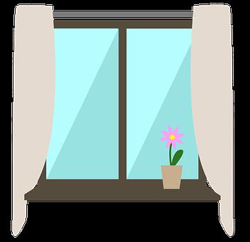 fönster med gardiner och en blomma i kruka
