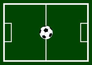 En fotbollsplan sedd från ovan