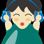 en tecknad flicka som lyssnar i hörlurar