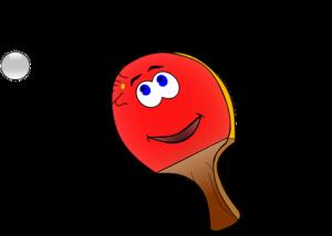 ett tecknat rött pingisracket med glada ögon och mun